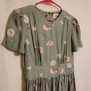 Vintage | Green Floral Midi Dress